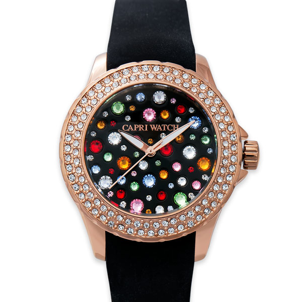 orologio con strass colorati
