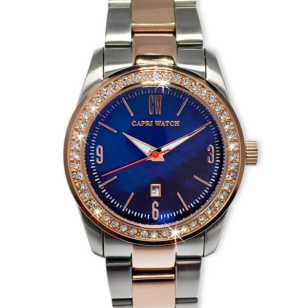 Art. 5347 Watch Lady Date Bimetal Dark Blue