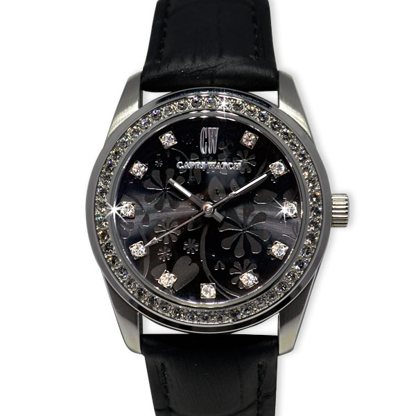 Watch Lady Flowers Black with Black Band
