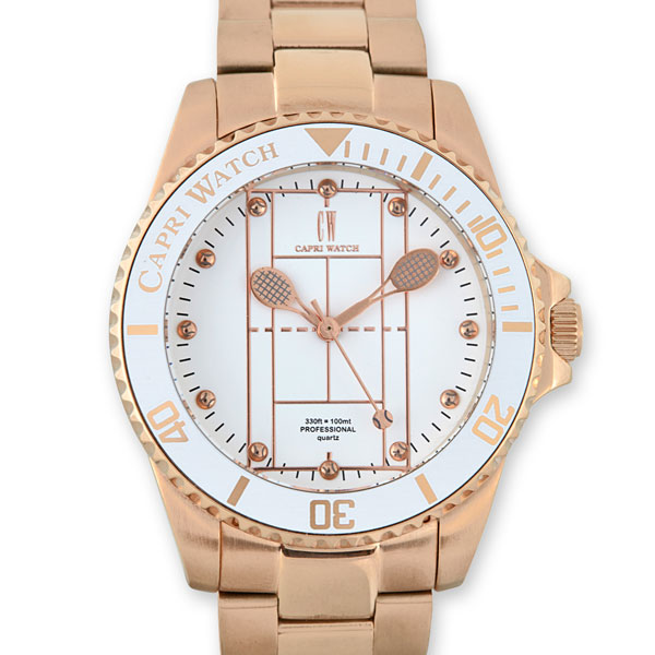 Watch Tennis Rose Gold White